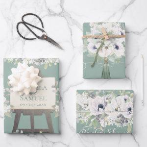 Boho Wedding Sage Watercolor Floral Bridal Shower Wrapping Paper Sheets