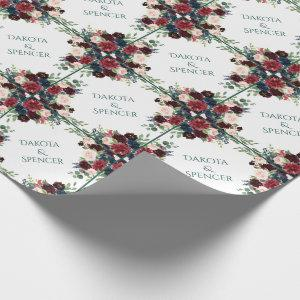 Bold Floral | Botanical Watercolor Wreath Frame Wrapping Paper