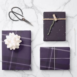 Bold modern purple plaid holiday wrapping paper sheets