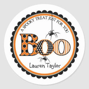 BOO and Spiders Halloween Treat Stickers
