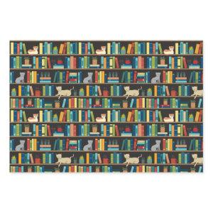 Book Cat Lover Reading Librarian Author Bookstore Wrapping Paper Sheets