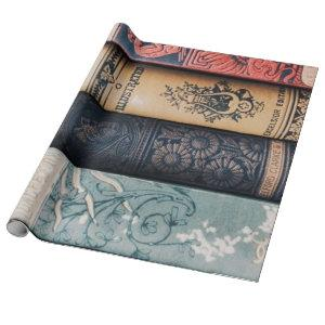 Book Spine Decoupage Poster Wrapping Paper