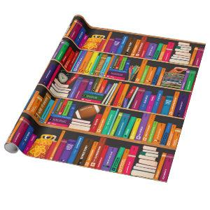 Bookshelf funky original library study room wrapping paper
