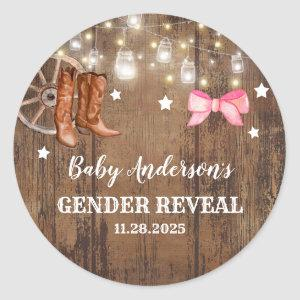 Boots or Bows Gender Reveal Classic Round Sticker