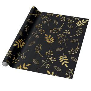 Botanical Floral Leaves Faux Gold Foil Black Wrapping Paper