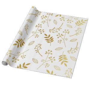 Botanical Floral Leaves Faux Gold Foil White Wrapping Paper