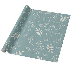 Botanical Floral Leaves Greenery Slate Blue Wrapping Paper