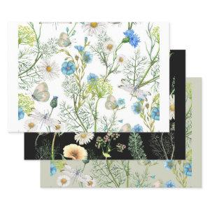 Botanical Garden Flowers Herbs Dragonflies Wrapping Paper Sheets