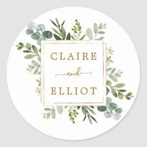 Botanical Gold Greenery Wedding Classic Round Sticker