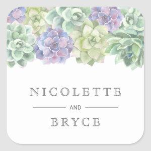 Botanical Green and Purple Succulents Wedding Square Sticker