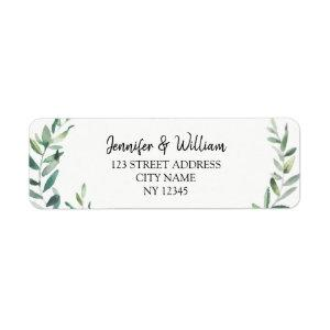 Botanical Watercolor olive leaves rustic wedding Label