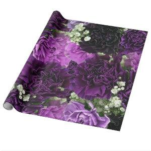 Bouquet Purple Carnations Wrapping Paper