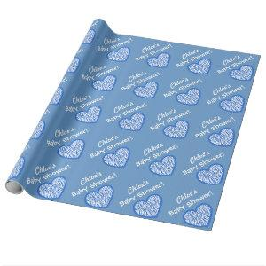 BOY Baby Shower  Custom Name Blue Zebra Heart 3 Wrapping Paper