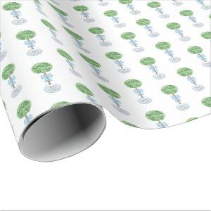 Boy Baby Shower Topiary Bow Blue White Planter Wrapping Paper