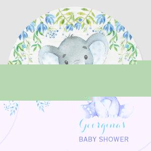 Boy Elephant Thank You Sticker Baby Shower Favors