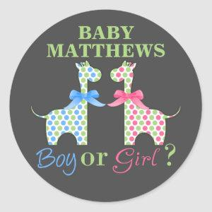 Boy Or Girl Giraffe Gender Reveal Classic Round Sticker