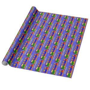 Boys Birthday Party Cute Train Wrapping Paper
