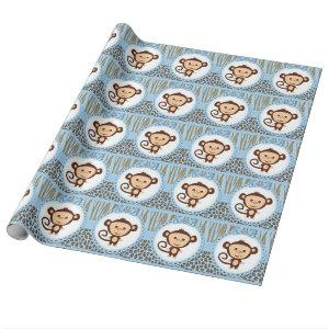 Boys Monkey Baby Shower Wrapping Paper