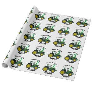 Boy's Personalize Happy Birthday Green Tractor Wrapping Paper