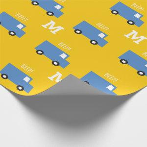 Boys Toys Transport Blue Truck Monogram Birthday Wrapping Paper