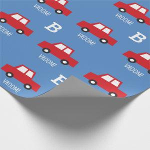 Boys Toys Transport Cute Red Car Monogram Birthday Wrapping Paper