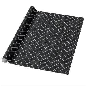 BRICK2 BLACK MARBLE & WHITE MARBLE WRAPPING PAPER