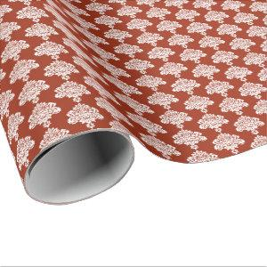 Brick Red | White Damask Wrapping Paper