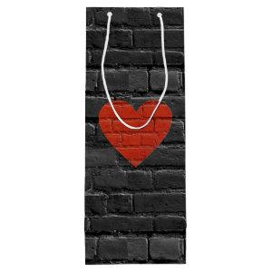 Brick Solid Wine Lover Red Heart Gift Bag