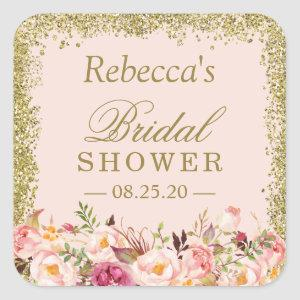Bridal Shower Blush Pink Gold Glitters Floral Square Sticker