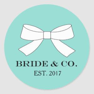 BRIDE & CO Personalize Teal Blue Tiffany Party Classic Round Sticker