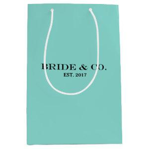 BRIDE & CO Personalized Teal Blue Shower Party Medium Gift Bag