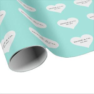 BRIDE CO Teal Blue Bridal Shower Celebration Party Wrapping Paper