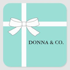 BRIDE CO Teal Blue White Personalized Shower Party Square Sticker