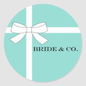 BRIDE & CO White And Teal Blue Shower Party Classic Round Sticker
