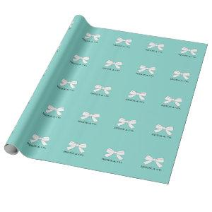 BRIDE Glam Teal Blue And White Bow Party Wrapping Paper