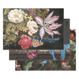 BRIGHT ANTIQUE FLORALS HEAVY WEIGHT DECOUPAGE WRAPPING PAPER SHEETS