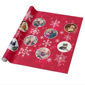 Bright Christmas Red Family Photos and Snowflakes Wrapping Paper