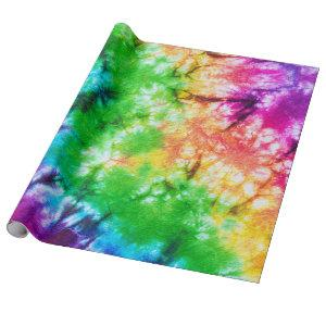 bright happy colorful groovy tie dye wrapping paper