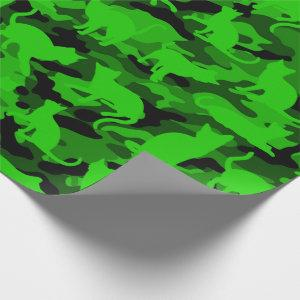 Bright Neon Green Catmouflage Wrapping Paper