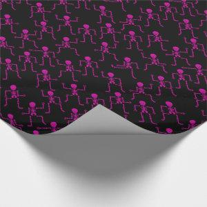 Bright Pink Happy Dancing Skeletons Horror Pattern Wrapping Paper