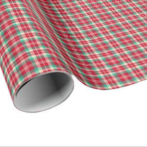 Bright Red Vintage Christmas Plaid Wrapping Paper