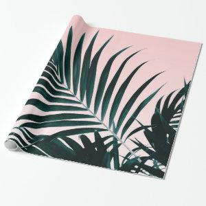Bright tropical palm tree photo pastel pink ombre