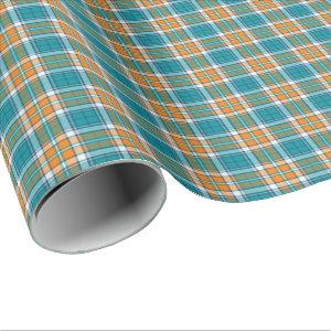 Bright Turquoise and Orange Sporty Plaid Pattern Wrapping Paper