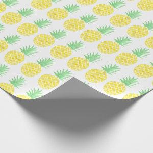Bright Yellow & Green Watercolor Pineapple Pattern Wrapping Paper