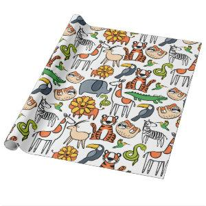 Brightly Coloured Safari Animals Wrapping Paper