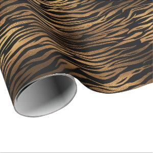 Bronze Honey Gold Metal Black Tiger Animal Skin Wrapping Paper