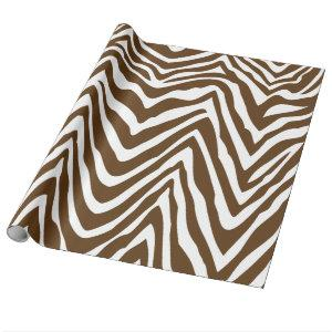 Brown and White Zebra Stripes Animal Print Wrapping Paper