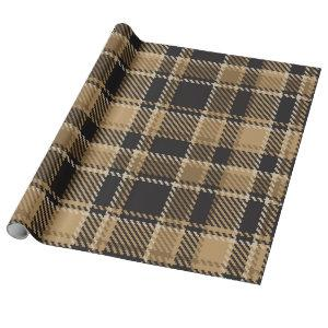 Brown beige plaid pattern wrapping paper