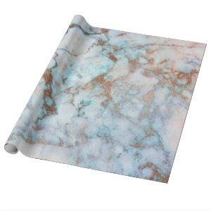 Brown Blue And White Marble Wrapping Paper