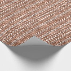 Brown Brick Geometric Aztec Tribal Print Pattern Wrapping Paper